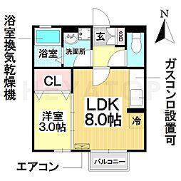 愛知県名古屋市南区豊田5丁目の賃貸アパートの間取り