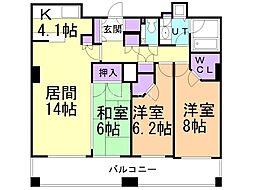 ザ・サッポロレジデンス 8階3LDKの間取り