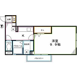 JR中央本線 国立駅 徒歩11分の賃貸アパート 3階1Kの間取り