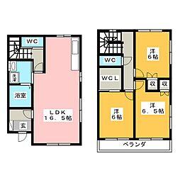 [テラスハウス] 栃木県宇都宮市緑3丁目 の賃貸【/】の間取り