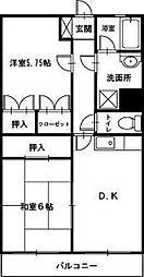 パークビューマンションII[2LDK号室]の間取り