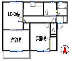 兵庫県たつの市揖保川町正條の賃貸アパートの間取り