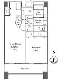 リバーシティ21イーストタワーズII 19階1LDKの間取り