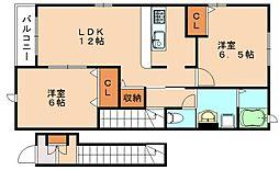ヌーベル・シンワD[2階]の間取り