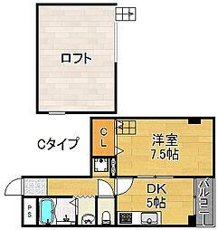 ルミナール加賀屋[5階]の間取り