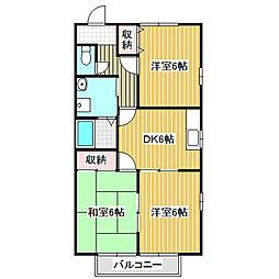 愛知県名古屋市港区春田野2丁目の賃貸アパートの間取り