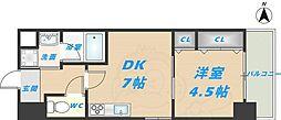 スタシオン俊徳道 6階1DKの間取り