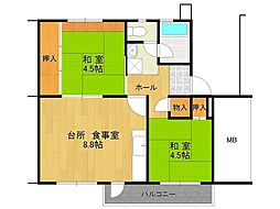 UR逆瀬川住宅[6-403号室]の間取り