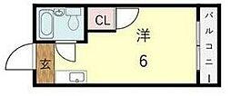 ユニコーン82西野 2階ワンルームの間取り