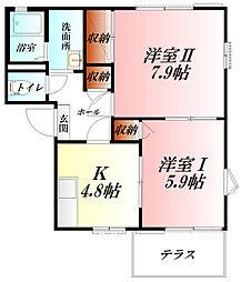 金子ハイツA棟[1階]の間取り