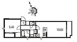 アジールコート東大井 4階1LDKの間取り