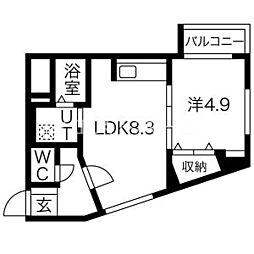 ラフィナート近代美術館 3階1LDKの間取り