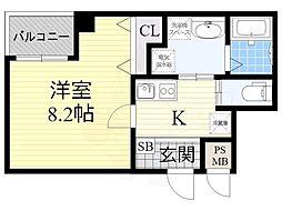 南海高野線 堺東駅 徒歩14分の賃貸マンション 4階1Kの間取り