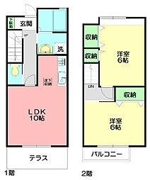 [テラスハウス] 神奈川県藤沢市善行坂2丁目 の賃貸【/】の間取り