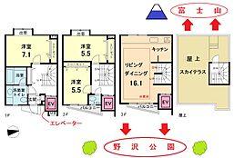 間取図 室内エレベーター付きで上下階移動がラクです。一戸建て感覚の3LDKです。