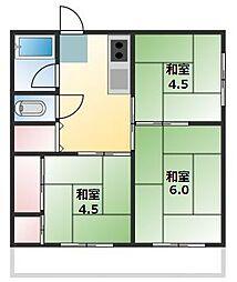 近江ハイツ[2階]の間取り
