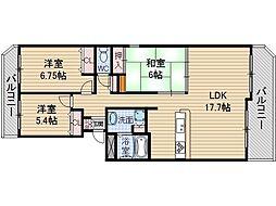マウントビュー西田中[5階]の間取り