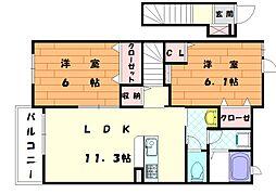 福岡県福津市宮司浜1丁目の賃貸アパートの間取り