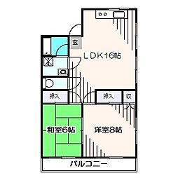 東京都東久留米市幸町3丁目の賃貸マンションの間取り