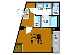 Osaka Metro四つ橋線 玉出駅 徒歩4分の賃貸マンション 5階1Kの間取り