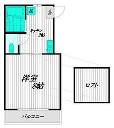ハウス新井薬師[2-B号室]の間取り