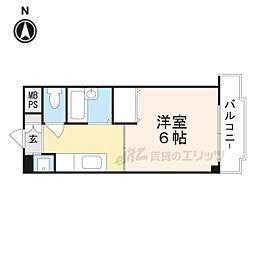 シャトー黒田 5階1Kの間取り