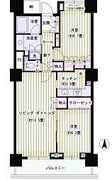 都営大江戸線 門前仲町駅 徒歩9分の賃貸マンション 32階2LDKの間取り