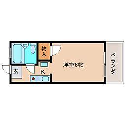 近鉄奈良線 富雄駅 徒歩3分の賃貸アパート 2階ワンルームの間取り