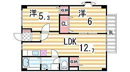 シャトー雅A棟[2階]の間取り