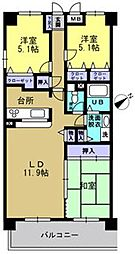 トゥールモンド高宮[2階]の間取り