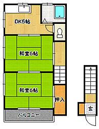 兵庫県神戸市兵庫区山王町2丁目の賃貸アパートの間取り
