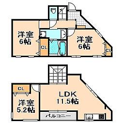 [テラスハウス] 兵庫県伊丹市清水3丁目 の賃貸【/】の間取り