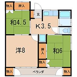 福島県福島市丸子字台の賃貸アパートの間取り