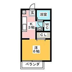 ガーデンハイツみのわC棟[1階]の間取り