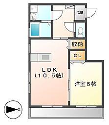 Ju・Ju(ジュジュ)[1階]の間取り