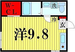 東京メトロ半蔵門線 押上駅 徒歩10分の賃貸マンション 2階ワンルームの間取り
