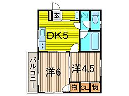SUN ROSA 田中[1階]の間取り