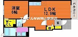 岡山県岡山市南区郡丁目なしの賃貸アパートの間取り