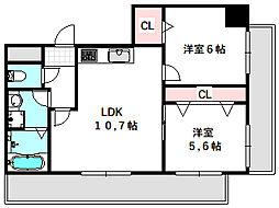 新築DHマンション 6階2LDKの間取り