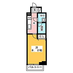 AZEST梅島 7階1Kの間取り