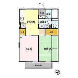 東京都武蔵野市中町2丁目の賃貸アパートの間取り