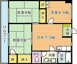 ハッピーエステートモア八幡駅前[2階]の間取り