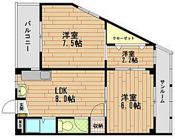 市成マンション[3階]の間取り