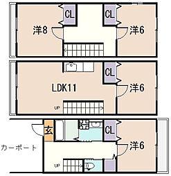 [テラスハウス] 大阪府東大阪市上小阪3丁目 の賃貸【/】の間取り
