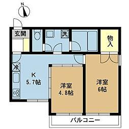 東京都大田区南馬込4丁目の賃貸マンションの間取り