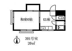東京都目黒区五本木2丁目の賃貸マンションの間取り