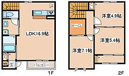 [テラスハウス] 兵庫県神戸市中央区中山手通7丁目 の賃貸【/】の間取り