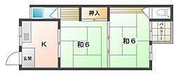 基陽マンション 3階2Kの間取り