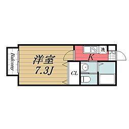 JR総武本線 東千葉駅 徒歩15分の賃貸アパート 1階1Kの間取り