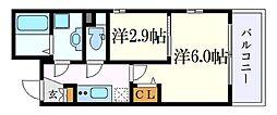 名古屋市営東山線 中村日赤駅 徒歩5分の賃貸マンション 5階2Kの間取り
